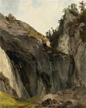 felswand mit bewuchs, naturstudie /<br>a rocky outcrop with vegetation. a nature study by friedrich gauermann
