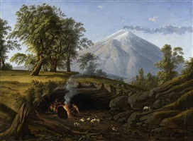 the 'ziegengrotte' near mount etna (the grotto of the goats) by ludwig philipp strack