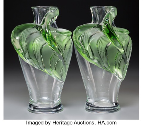 A Pair of Lalique Clear and Green Glass Tanega Vases by