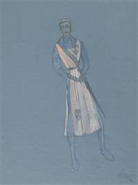 camelot, two costume designs for the stage production by adrian