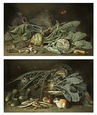 a still life of vegetables with a hare / a still life of vegetables with a guinea pig by jacob samuel beck