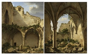 pendants: two views of the ruined chapel at by etienne bouhot