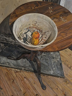 white bowl on a round table by christopher bramham