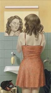 mädchen vor toilettenspiegel by almut heise