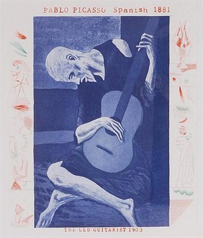blue guitarist by david hockney