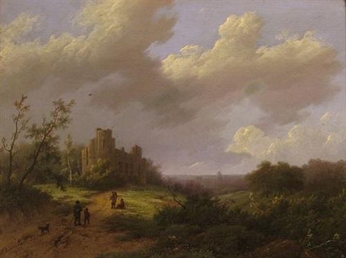 landscape by marianus adrianus koekkoek