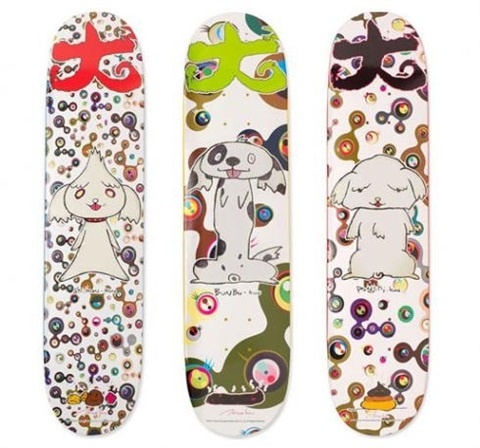 bunbu kun ponchi kun shimon kun set of three skate decks by takashi murakami