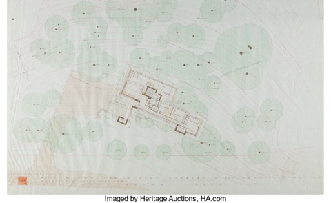 Rendered Site Plan for the Broad Margin House by Frank Lloyd Wright – Rendered Site Plan