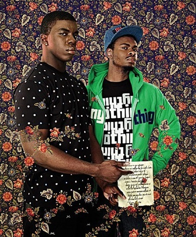 after pontormos: 2 men with a passage from ciceros by kehinde wiley