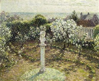 apple trees in flower, gerberoy, garden of the artist by henri le sidaner