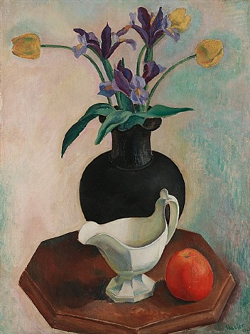 yellow tulip, blue iris (yellow iris) by charles sheeler