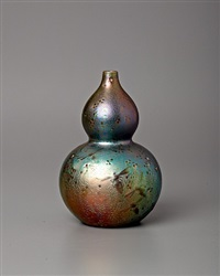 dragonfly double gourd vase by clement massier