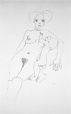 mother and child from <i>handzeichnungen</i> by egon schiele
