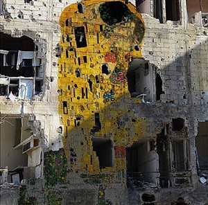 syrian museum series - gustav klimt's the kiss (freedom graffiti)' by tammam azzam
