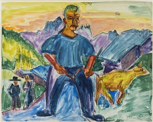 kuh und treiber / cow and herder by ernst ludwig kirchner