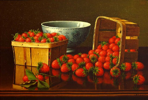still life with strawberries by levi wells prentice