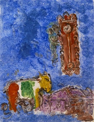 the clock / l'horloge by marc chagall