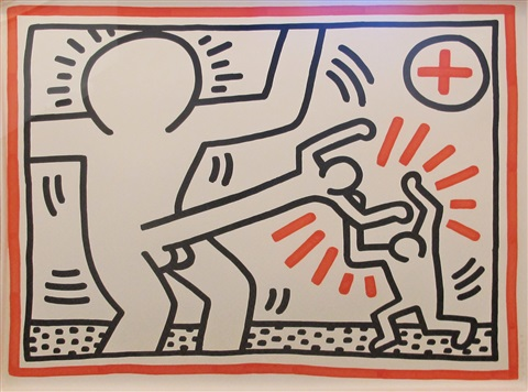 cockfight (from 3 lithographs) by keith haring