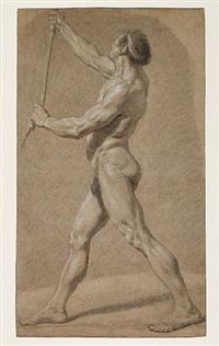 académie d'homme debout, de profil gauche, tenant une corde by nicolas bernard lépicié