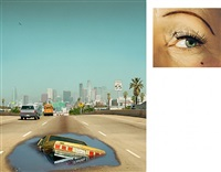 2 pm, interstate 110 and eye #6 (sinkhole) (diptych) by alex prager