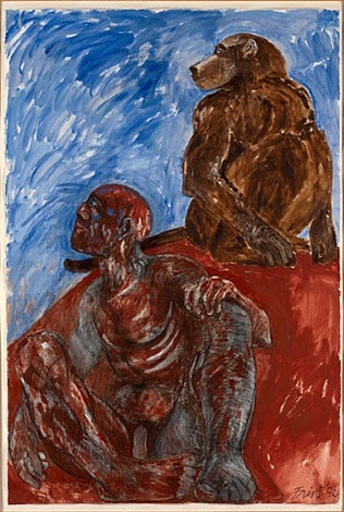 man and baboon by elisabeth frink