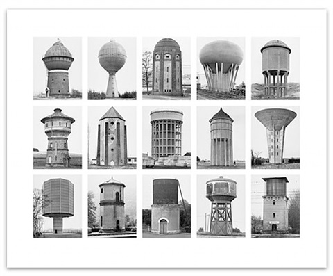 wasserturme (water towers), image iv from the series: typologies by bernd and hilla becher
