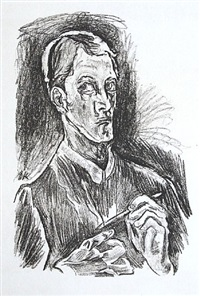 selbstbildnis, brustbild mit zeichstift (bust-length self-portrait with drawing pencil) by oskar kokoschka