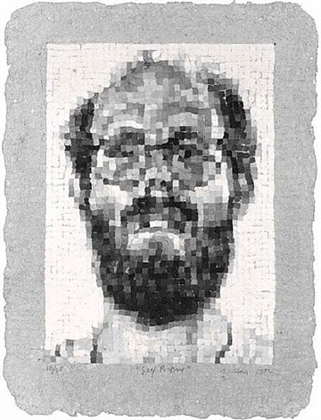 self-portrait manipulated by chuck close