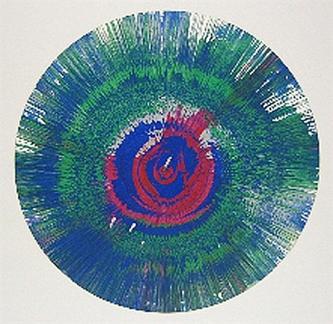 spin painting (blue/green) by damien hirst