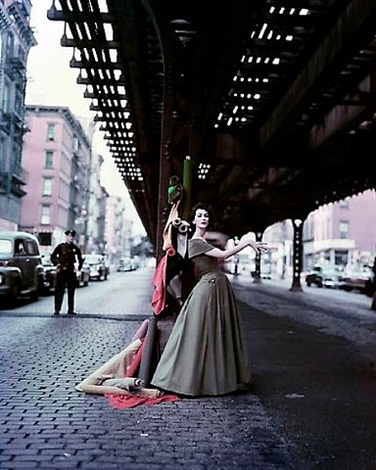 dovima under the el (dior creates cosmopolitan drama) by william (bill) helburn