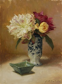 peonies with jade dish by grace mehan de vito