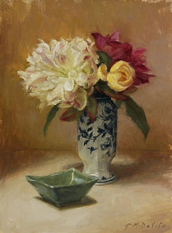 peonies with jade dish by grace mehan devito