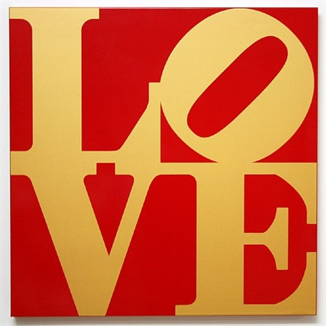 book of love (gold/red) by robert indiana
