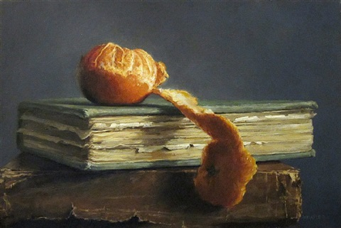 peeled tangerine with books (sold) by michael naples