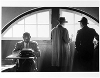 sports writers, one at typewriter by jay maisel