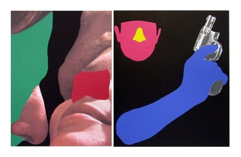 noses ears etc couple and man with gun 2 panels by john baldessari