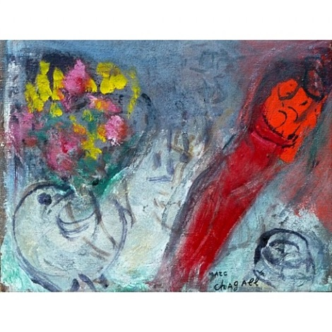 study for the woman in red by marc chagall
