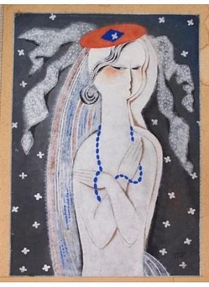 woman with blue necklace by béla kádár
