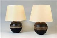 paire de lampe boule en céramique by jacques adnet