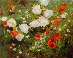 peonies and red poppies by kathy anderson