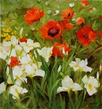 poppies and white iris by kathy anderson