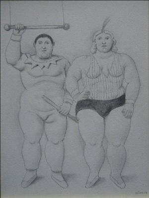 los trapecistas de la serie el circo by fernando botero