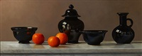 black pottery and clementines by johan de fre