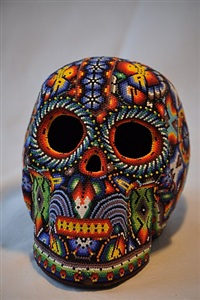 skull nr. 9  by tribe of the huichol