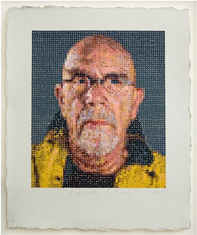 self – portrait / felt hand stamp by chuck close
