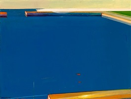 empty docks in blue by raimonds staprans