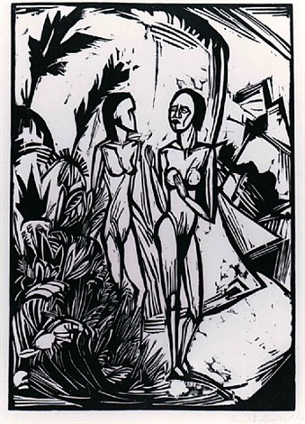 women on the beach by erich heckel