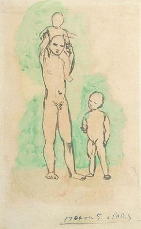 jeune homme et enfants by pablo picasso