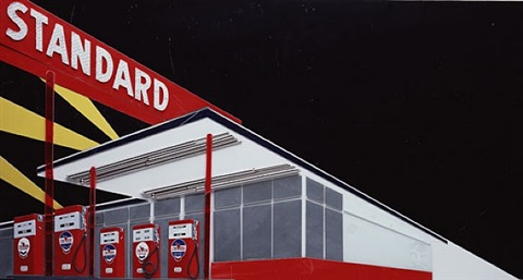 standard station at night after ed ruscha by vik muniz