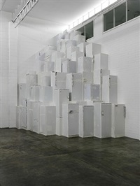 nearly 100 fridges in a corner by thomas rentmeister
